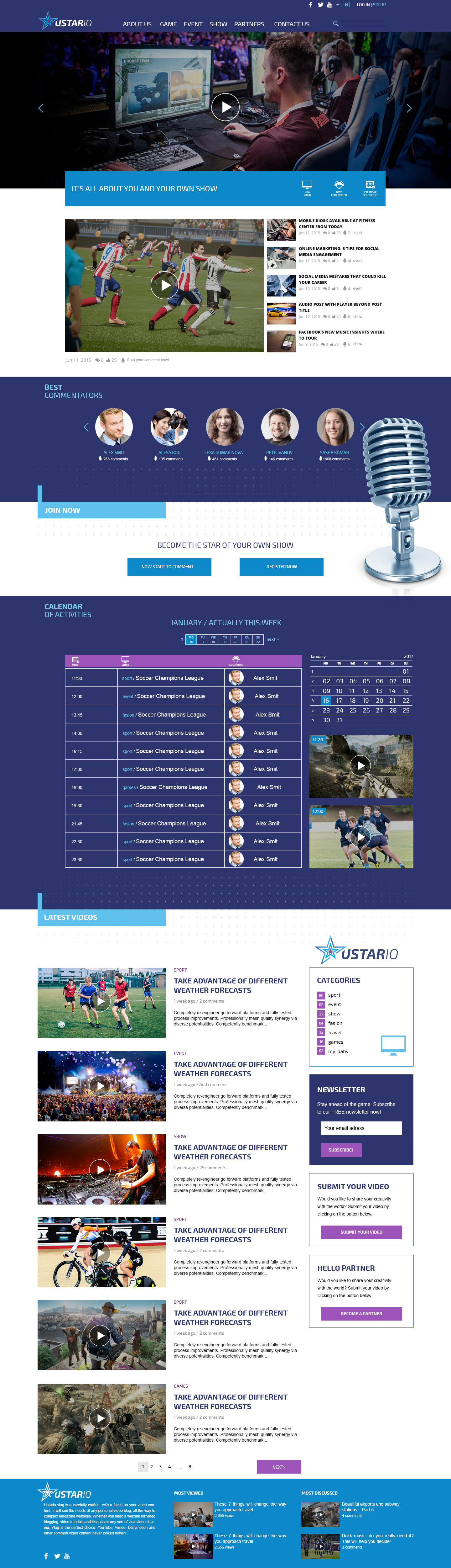 Проект социальной платформы Ustario